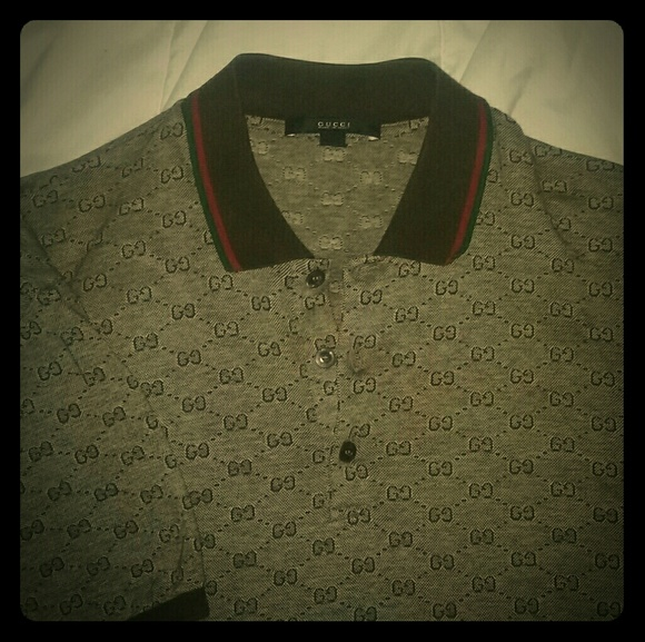 18cd839c5 Gucci Shirts | Euc Authentic Mens Double G Monogram Polo | Poshmark